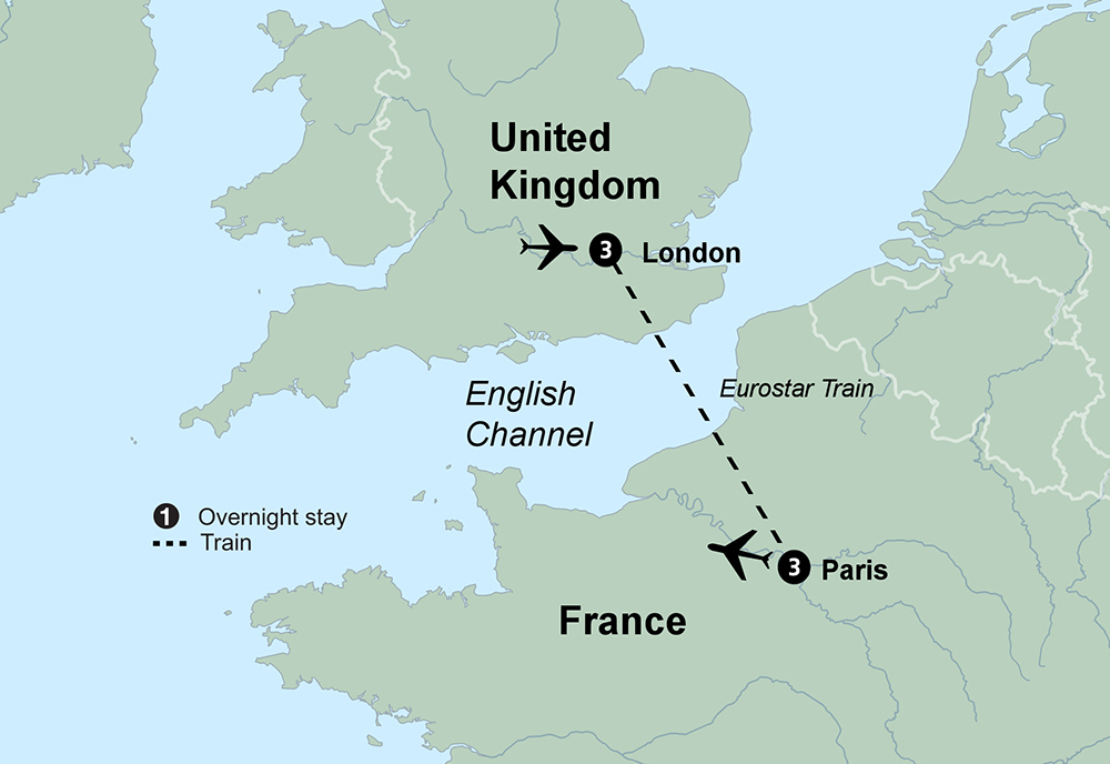 London and Paris (7 Days, Standard)